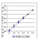 Figure 1: length weight relationship in Paracheirodon innesi.