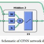 Figure 9: Schematic of CFNN network designed in Matlab