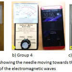 Figure 4: Tri Field meter showing the needle moving towards the right which means increasing the intensity of the electromagnetic waves