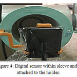 Figure 4: Digital sensor within sleeve and attached to the holder.