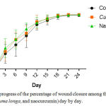 Figure 2: The progress of the percentage of wound closure among three groups (control, Curcuma longa, and naocurcumin) day by day.
