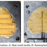 Figure 1: molds fabrication. A: Heat cured molds; B: thermoplastic Materials molds