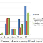 Figure 1: Frequency of smoking among different years of students.