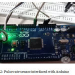 Figure 2: Pulse rate sensor interfaced with Arduino.
