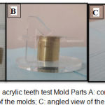 Figure 2: Shear bond with acrylic teeth test Mold Parts A: complete molds parts; B: side view of the molds; C: angled view of the molds