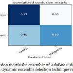 Figure 9.b: Confusion matrix for ensemble of AdaBoost decision trees using KNORA-E dynamic ensemble selection technique respectively.