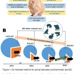 Figure 1: (A) Hamster traits for its use as laboratory animal model, and (B) trend of total animal and hamster uses in biomedical research (yellow and blue areas indicate respective usage of hamster and other animals in that fiscal year;